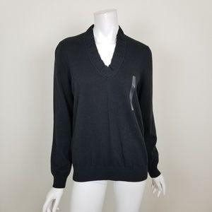 NWT LOFT Black V Neck Pullover Sweater Large
